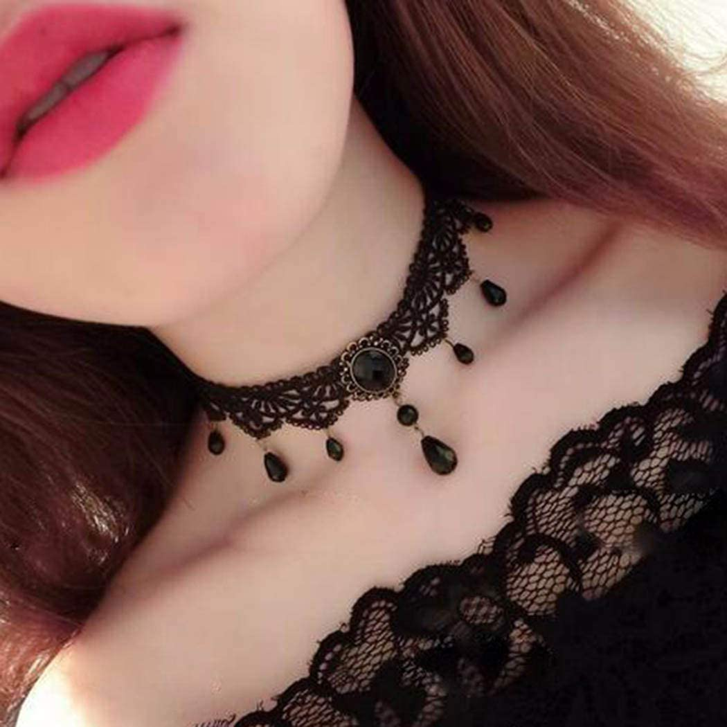 Zoestar Black Lace Choker Necklaces Vintage Crystal Pendant Necklace Punk Chain Accessories for Women