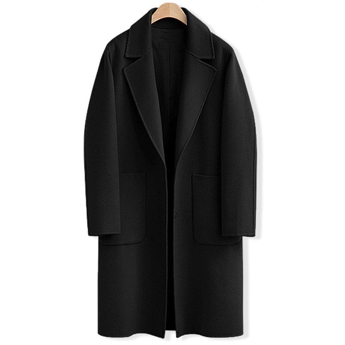 AOMEI Long Oversize Wool Coats for Women Winter Button Closure Black Color Outwear Size M