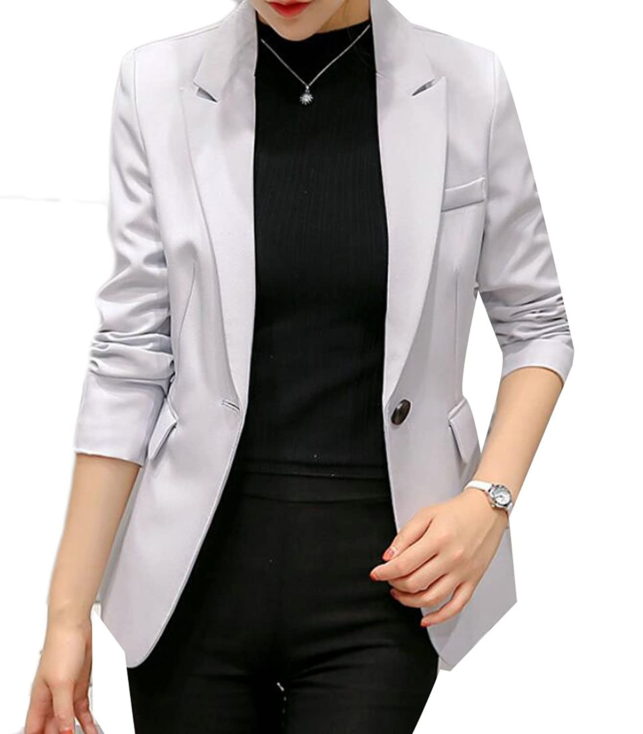 GRMO-Women Work Office Open Front Button Short Blazer Jacket