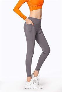 ZMJY Pantalones de Yoga, Polainas Extra Blandas para Mujeres, sin Cintura elástica, Cintura Alta, Yoga, Sudor, Mecha, Medias de Entrenamiento para Mujeres, Deporte,Gray,M