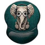 ITNRSIIET Ergonomic Mouse Pad with Gel Wrist Rest Support, Personalized Cute Green Pattern Headset Music Elephant, Pain…