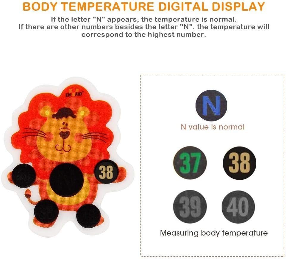 20pcs Forehead Temperature Sticker Cartoon Lion Children Body Fever Forehead Thermometer Sticker Easy and Fast Baby Care Temperature Sticker Label