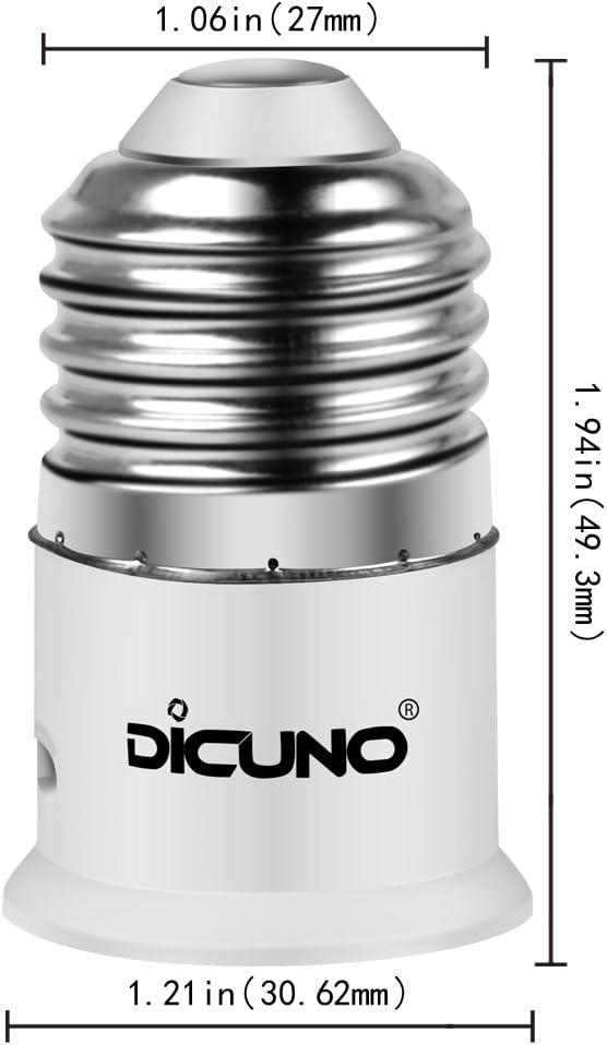 DiCUNO E27 zu B22 Socket Converter 6-Pack Socket Adapter Hohe Qualit/ät Lampensockel Adapter f/ür LED-Lampen und Gl/ühlampen und CFL-Lampen