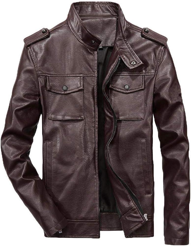 Chaqueta de Hombre Faux Leather Chaqueta de Cuero con Cremallera de Manga Larga Informal para Hombre Chaqueta Cortavientos para Hombre