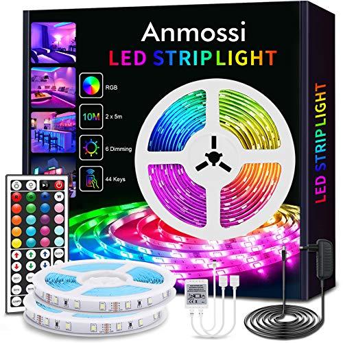 Anmossi Ruban LED 10m,Bandeau LED Multicolore avec Télécommande à Infrarouge 44 Touches et Alimentation 12V,SMD 5050 RGB Ruban LED Homekit pour Chambre,Salon,Décoration de Noël