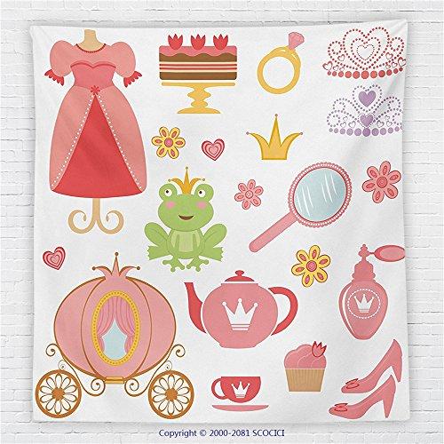 59 x 59 Inches Kids Decor Fleece Throw Blanket Princess Tiara Tea Party Mirror Teapot Tea Party Frog Crown Fairy Cupcake Girls Party Decorations Blanket