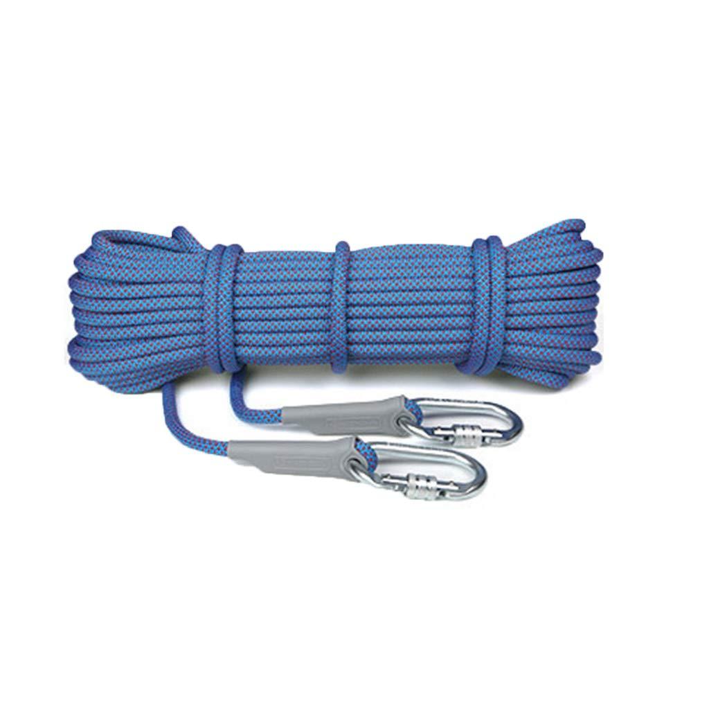 ZHWNGXO 10.5ミリメートル高地安全ロープ、編組ロープインナーコア9をきれいにするO型マスターロック汚れ抵抗/摩耗/簡単で25KNポリエステルを引いて (Color : 青, Size : 100m) 青 100m