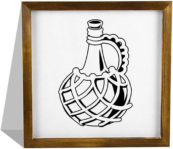 Señal de madera con marco de Nobranded realista, botella de ...
