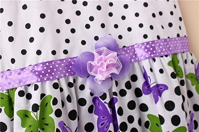 Amazon.com: ShiTou Girls Dress&&Girls Dot Butterfly Print Flower Casual Dress Clothes (Purple, XL): Clothing