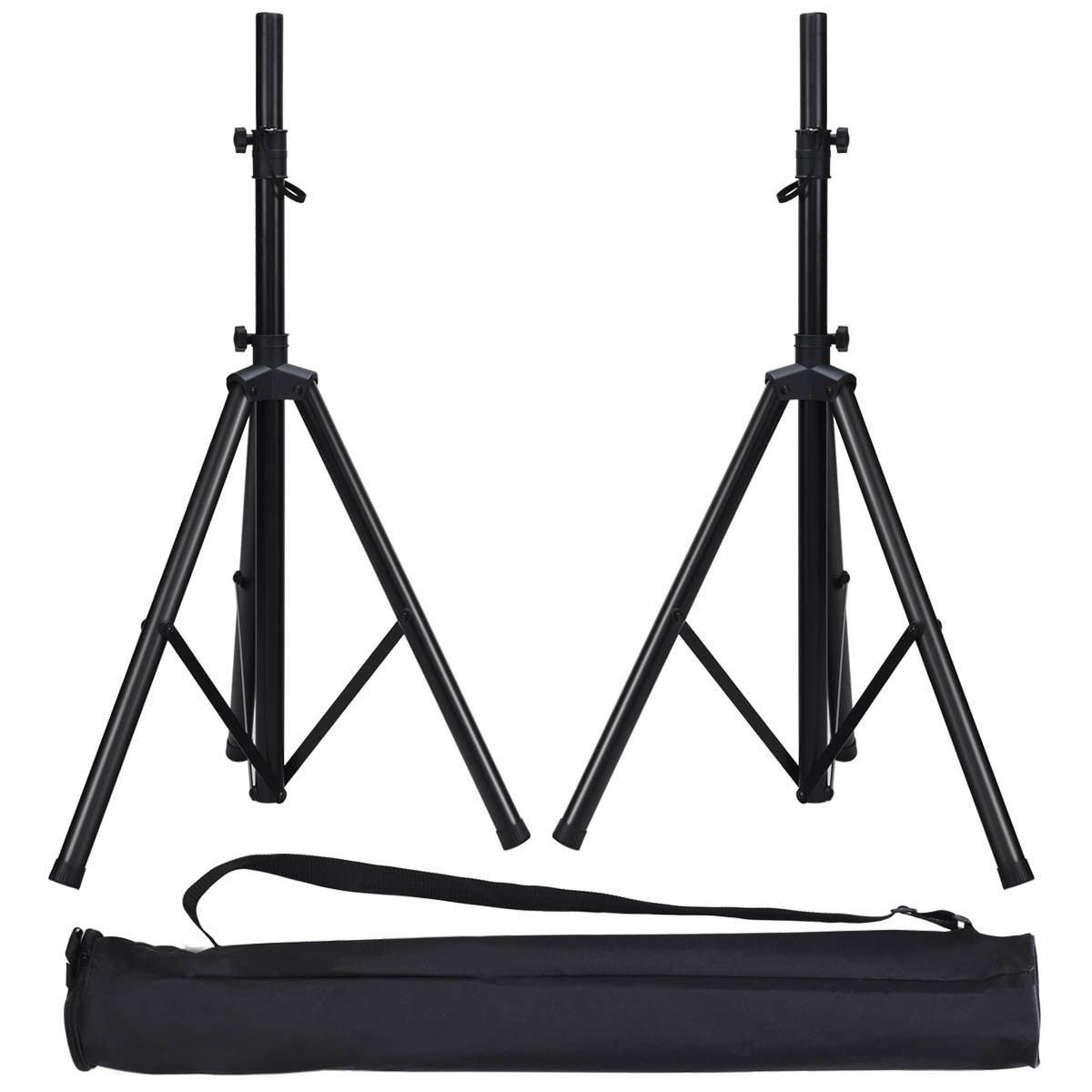 Costzon Speaker Stands, Heavy Duty Pair of Tripod DJ PA Stand, Adjustable Height From 38''to 74'', Easy Mobility Safety PIN and Knob Tension Locking Equipment Holder w/Carry Bag