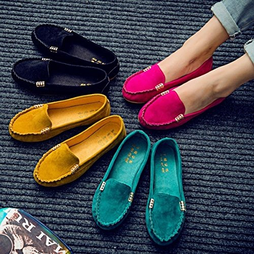 Shoes Womens Flats Heel Low Boat New Rose 40 Slip On Shoes Wyhui Yellow Cute Ladies Ballet Fashion tIqSnWw5