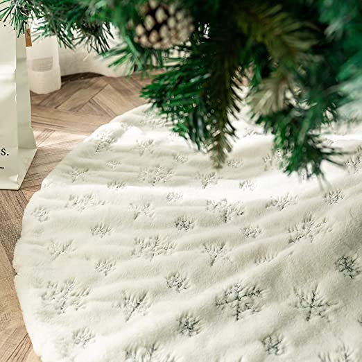 Tenrany Home Falda de Árbol de Navidad, Blanco Peluche Christmas ...