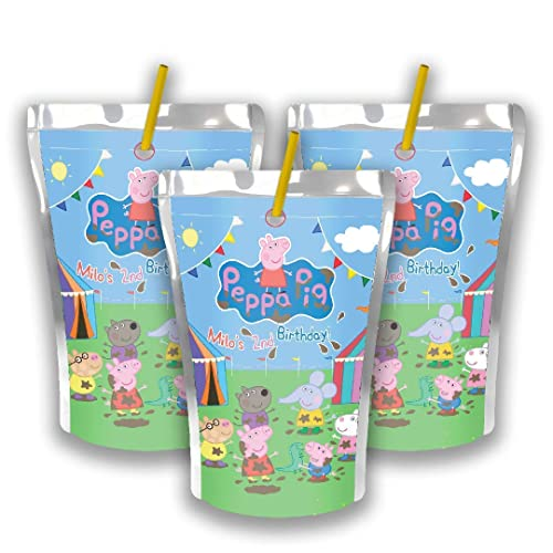 5284078b1e438 Amazon.com  12 Personalized Peppa Pig Birthday Party Juice Pouch ...