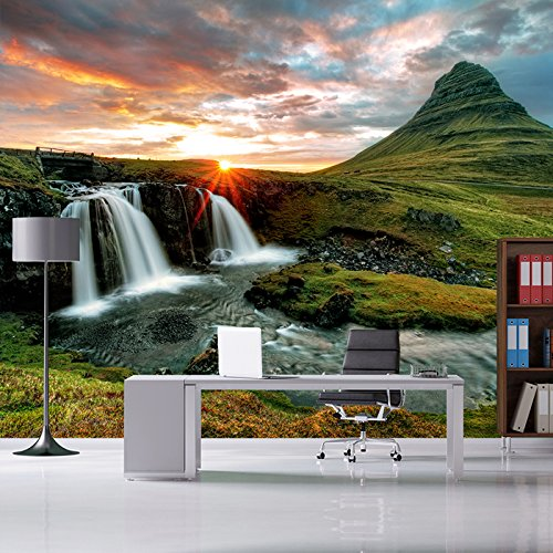 azutura Mountain Sunset Wall Mural Waterfall Landscape Photo Wallpaper Nature Home Decor Available in 8 Sizes Gigantic Digital