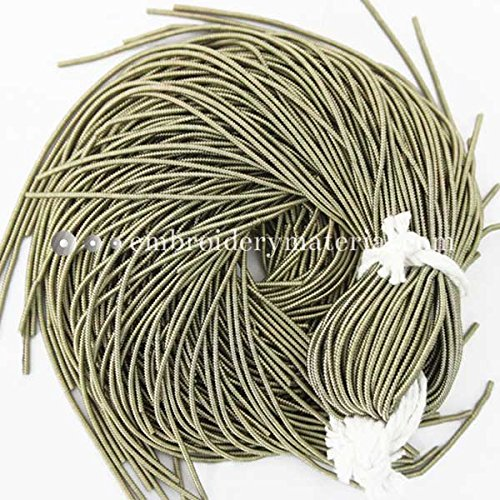 French Wire for Beading(Dabka), Antique Brass Color, 1.5MM, 20 Mtr(100 Gram) … (Wire Bullion French)