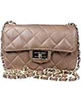 Beautiful Italian Leather Quilted Designer Style Classic Small Handbag with Gold Trim and Organza Gift Bag