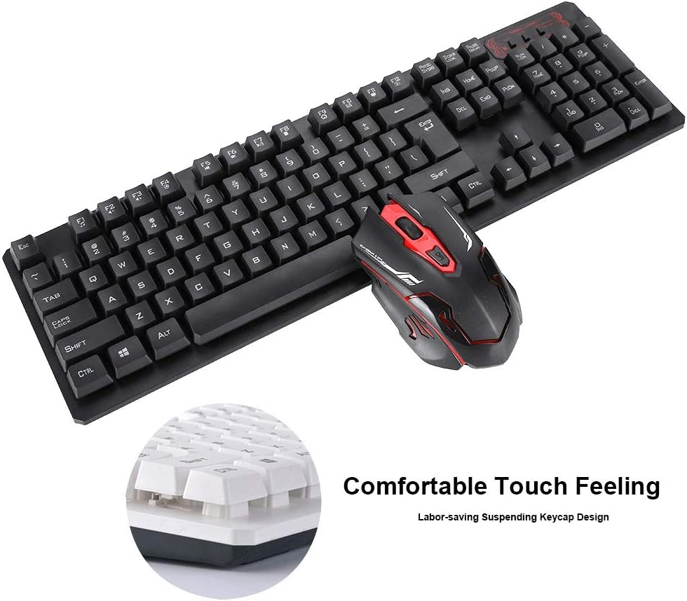Black Yoidesu HK6500 Portable 2.4GHz Wireless Gaming Keyboard and Mouse Combo Suspended Keycap Mechanical Feel Gaming Keyboard Ergonomic Mouse 4-Level DPI Control 10m Wireless Connection