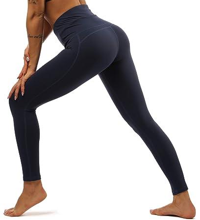 Yavero Leggings elásticos de cintura alta con bolsillos para yoga, running y deporte largo para mujer