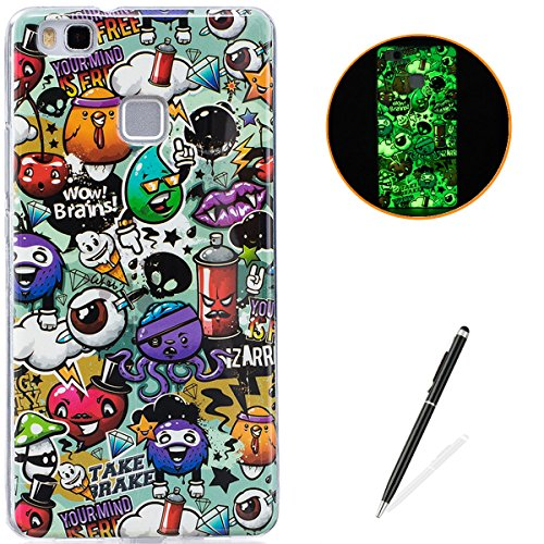 HUAWEI P9 Lite Soft Silicone Gel Case Luminous Effect KaseHom [with Free Black Touch Stylus] Green Glow in the Dark Colourful Cartoon Rubbish Pattern Jelly Clear TPU Skin Cover Bumper Shell ()