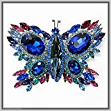 Hand Made Jewelry Art Butterfly Brooch Pin Cobalt Blue Winged Swarovski Crystal Rhinestones