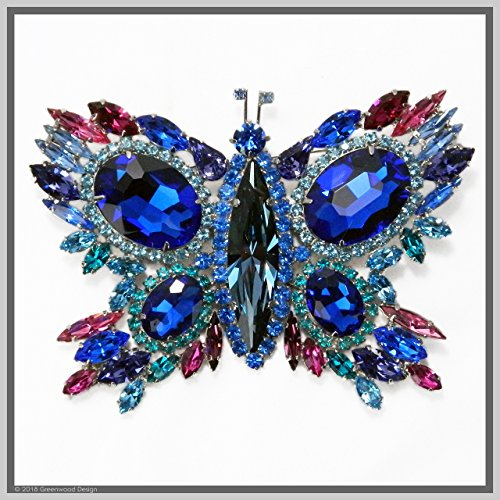 Hand Made Jewelry Art Butterfly Brooch Pin Cobalt Blue Winged Swarovski Crystal Rhinestones by Jewelry by Crystal Countess