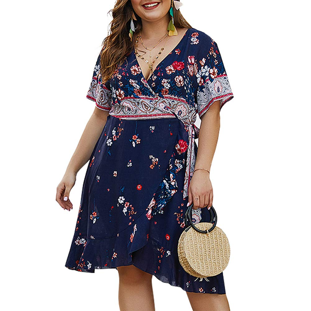 PARTY LADY Women's Summer Casual Beach Party Dresses Short Sleeve Swing Dress Plus Size