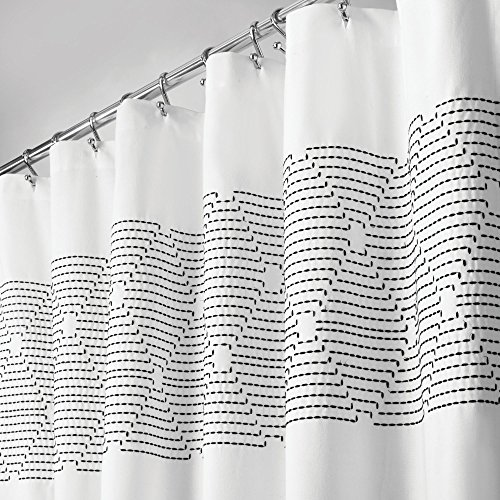 - mDesign Embroidered 100% Cotton Shower Curtain, Decorative Soft Fabric, for Bathroom Showers, Stalls and Bathtubs, Machine Washable, Modern Geometric Design - 72