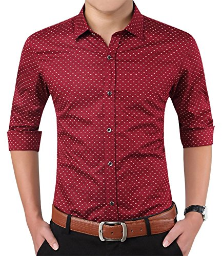 YTD Mens 100% Cotton Casual Slim Fit Long Sleeve Button Down Printed Dress Shirts US M Wine Red