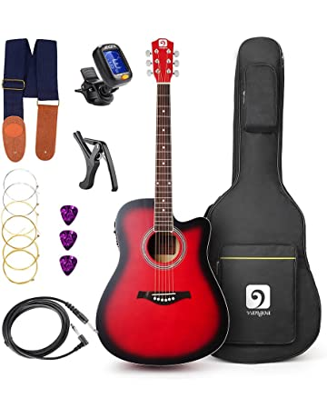 Acoustic Electric Guitar, Classical Acoustic Guitar Cutaway 41 Inch Full Size Beginner Kit with 4