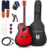 Vangoa - 41 inch Full-Size VG-41ECR Red Acoustic Electric Cutaway Guitar with Guitar Gig Bag, Strap, Tuner, String, Picks, Capo