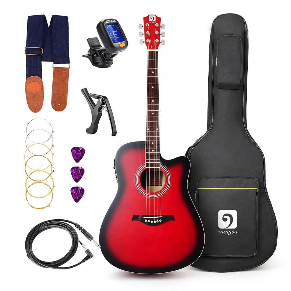 Vangoa - 41 inch Full-Size VG-41ECR Red Acoustic Electric Cutaway Guitar with Guitar Gig Bag, Strap, Tuner, String, Picks, Capo 10779941