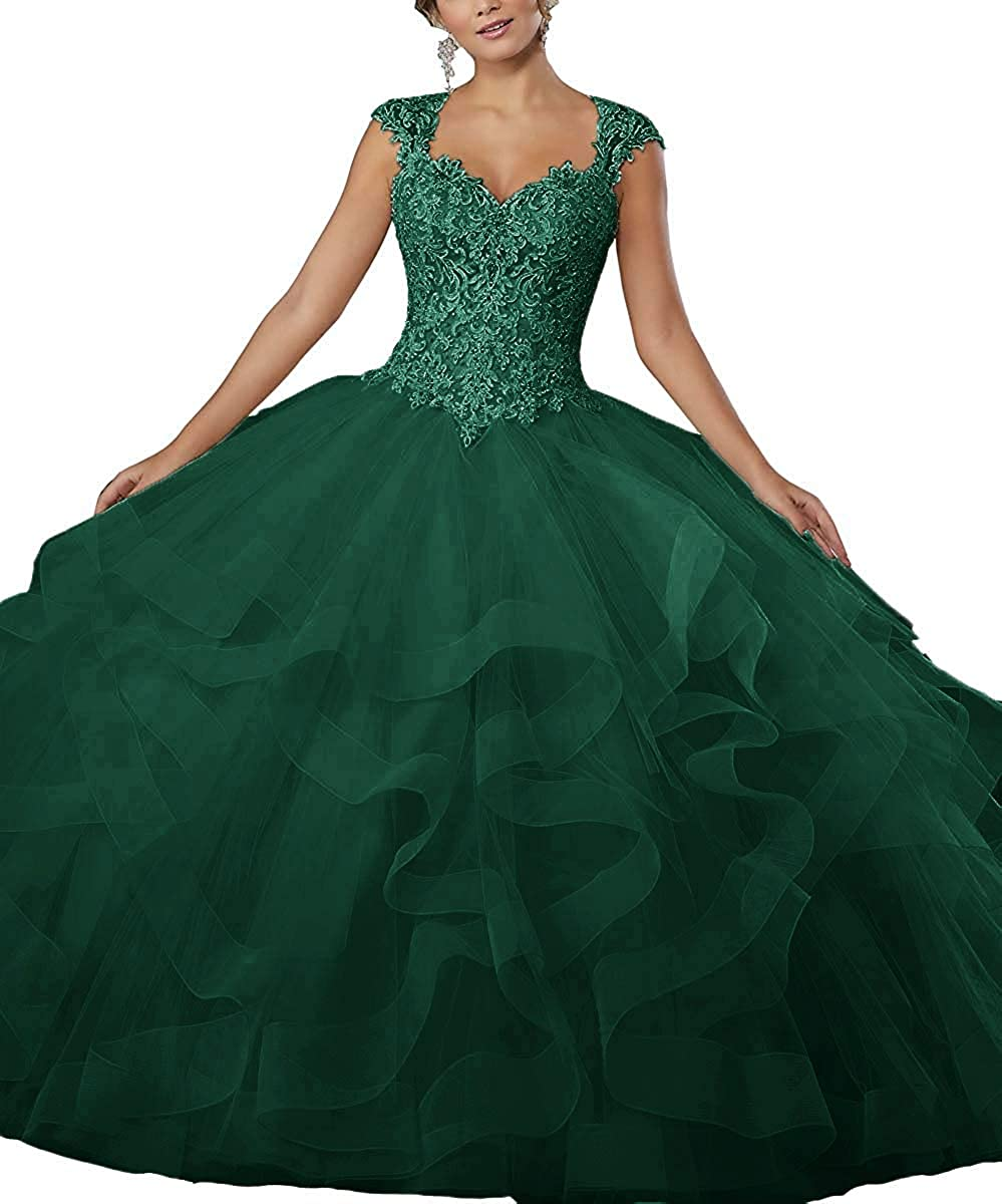Dark Green ZLQQ Women's Sweet 16 Lace Applique Beading Sleeveless Ball Gown Quinceanera Dresses