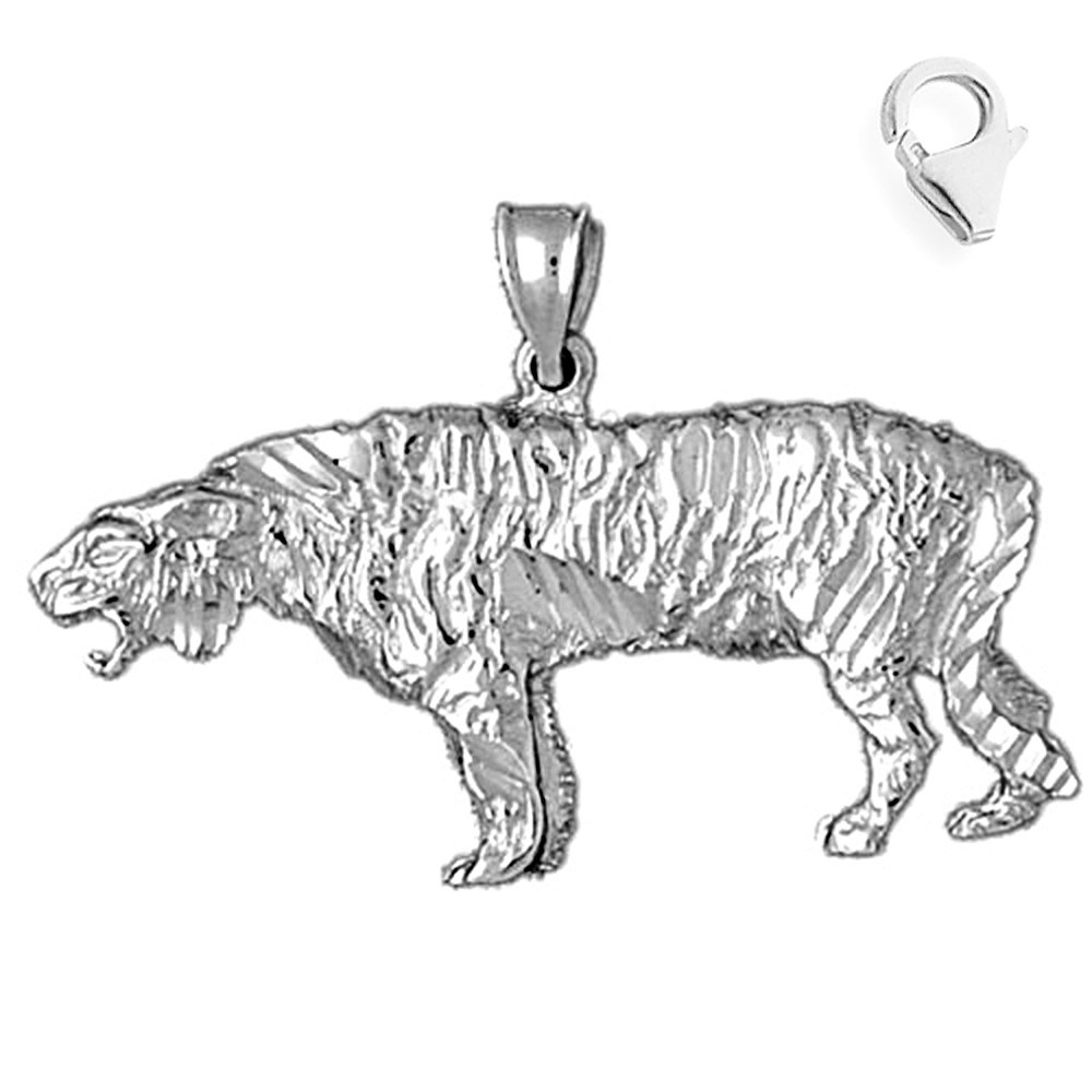 Sterling Silver 21mm Sabre Tooth Tiger with 7.5 Charm Bracelet Jewels Obsession Sabre Tooth Tiger Pendant