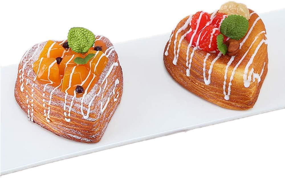 Nice purchase 2pcs Artificial Food Bread Tart Pie Dessert Simulation Model Fake Cake Mousse Fruit Bakery Photography Props Decor (Heart Shape)