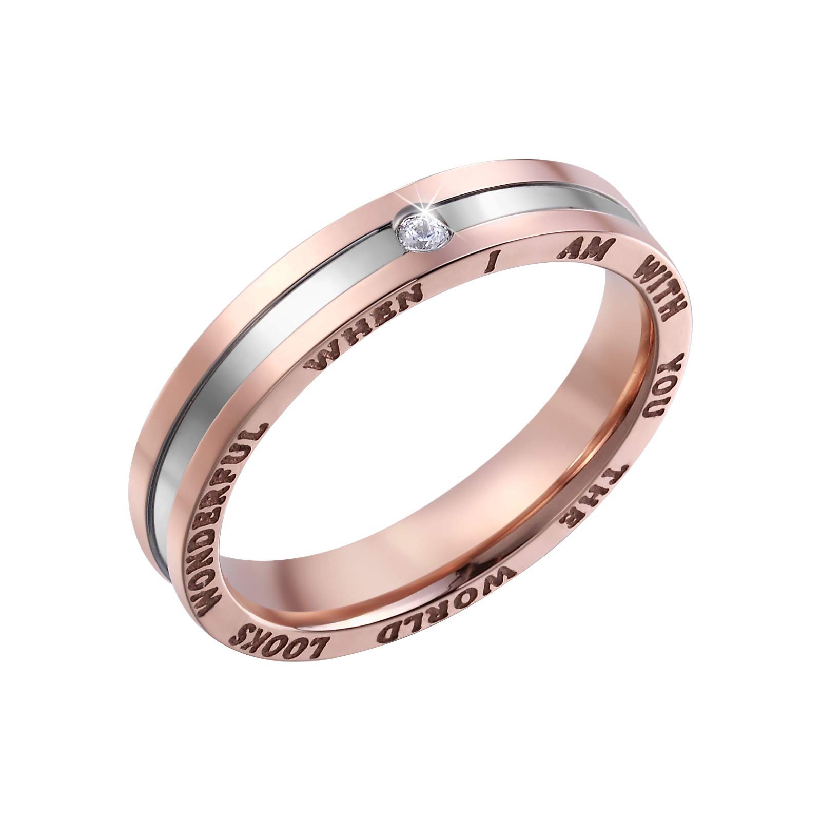 Dec.bells Silver Rose Gold Two Tone Stainless Steel Promise Ring Band Small Ring for Her (Size 5)