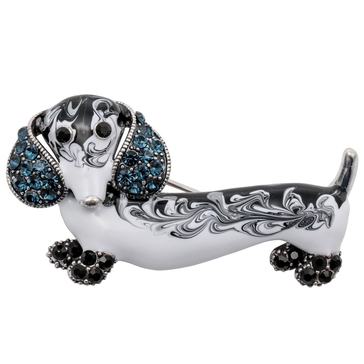 Szxc Jewelry Crystal Sparkly Dachshund Dog Puppy Animal Collection Accessories Brooch Pin Gift Women