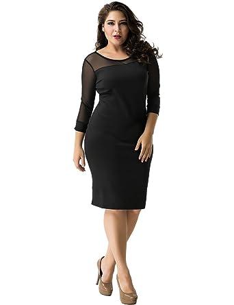 ohyeahlady Women Mesh Slim Bodycon Dresses Plus Size Pencil Club ...