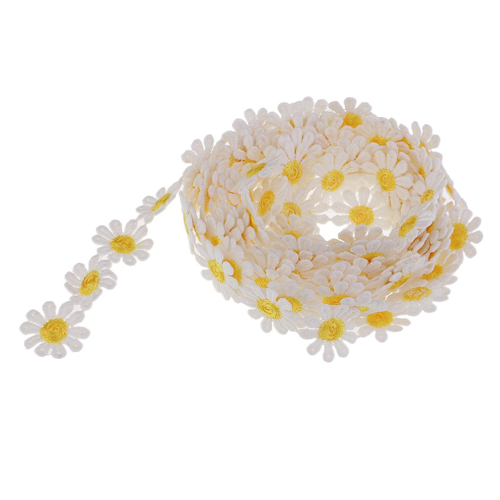 dailymall Embroidered Daisy Lace Trim Flower for Sewing Dressmaking Edging 3 Yard 25mm as described Rose red