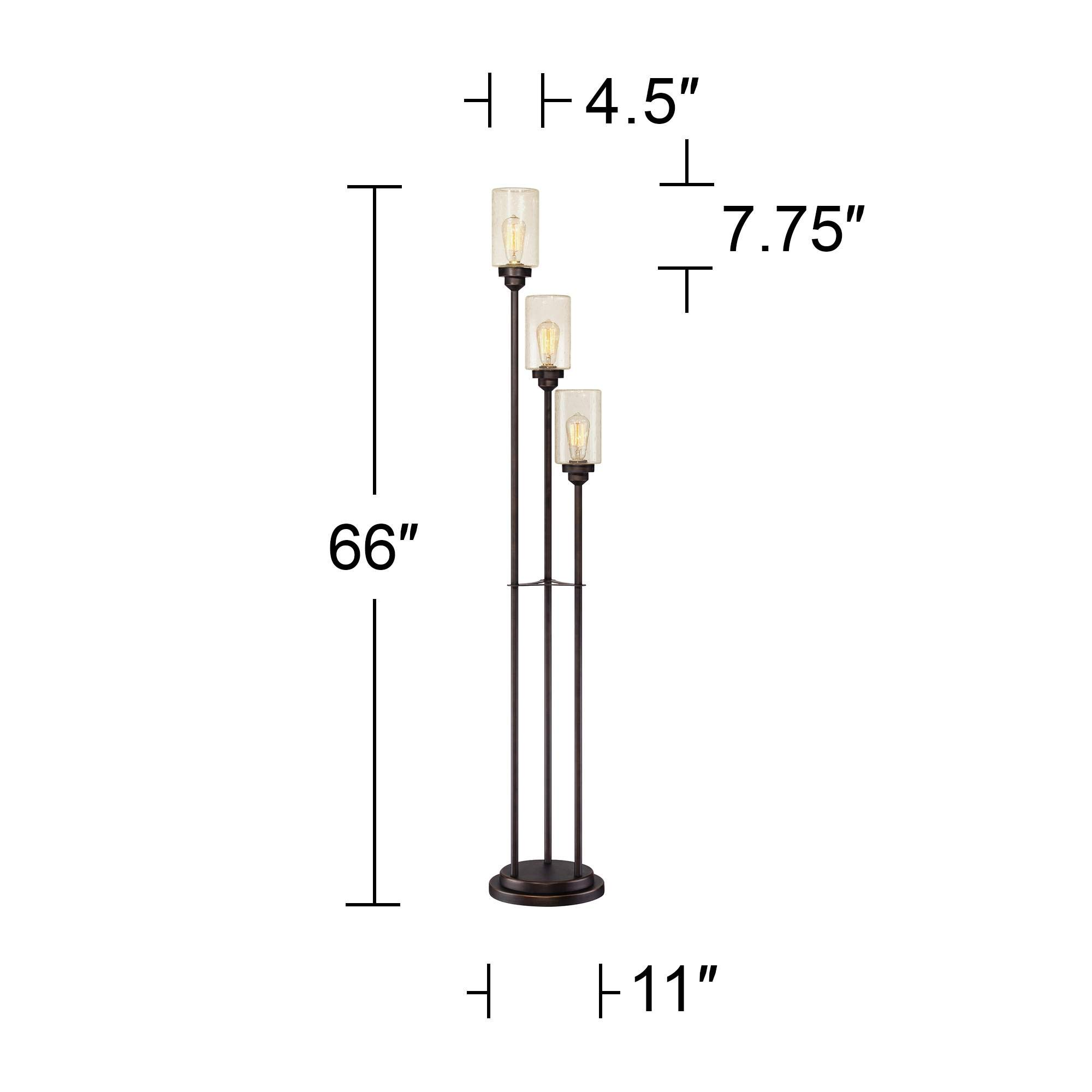 Libby Vintage Floor Lamp 3-Light Oiled Bronze Amber Seedy Glass Dimmable LED Edison Bulb for Living Room Bedroom - Franklin Iron Works by Franklin Iron Works (Image #7)