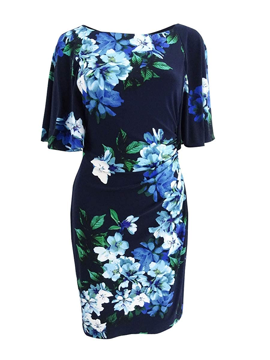 Navy Multi Lauren Ralph Lauren Womens Flutter Sleeves KneeLength Party Dress