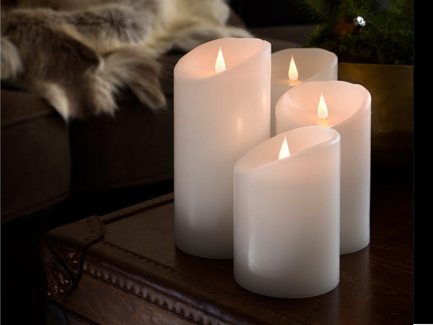 4er set LED Echtwachskerze mit 3D Flamme & 4 8h Timer, Ø 10cm, Höhe 14 16 18 21,5cm, Batteriebetrieb  jeweils 2x C 1,5W (exkl.)