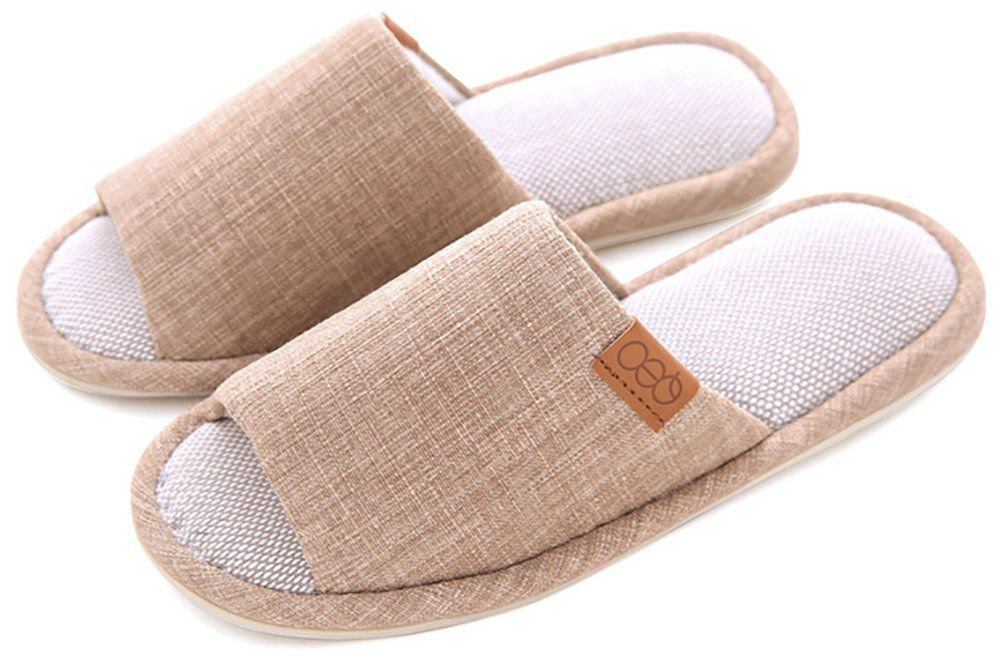 Para mujer/hombre sandalias Zapatillas sandalias antideslizante algodón y lino Mulas zapatos de casa de absorción de humedad de humedad con un libre de almacenamiento bolsa de lino cqxHH9ge