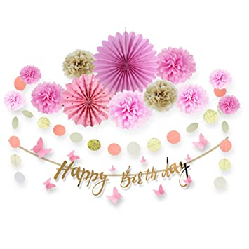 Geburtstag Madchen Rosa Gold Deko Happy Birthday Amazon De Kuche