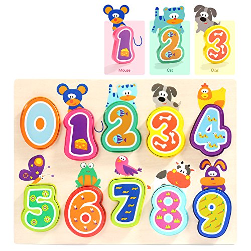 TOP BRIGHT Wooden Puzzles Toddler Toys - Kids Wood Number Puzzle Preschool Educational Learning Toy