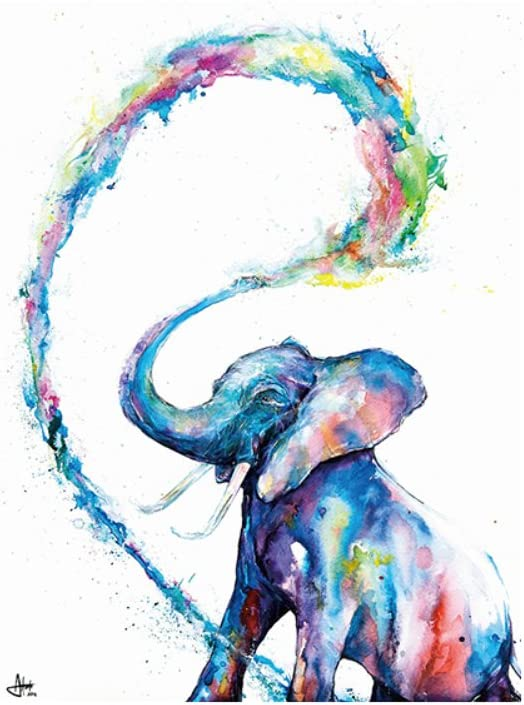 Aquarelle Elephant Family HD encadrée TOILE murale ART Photo Print