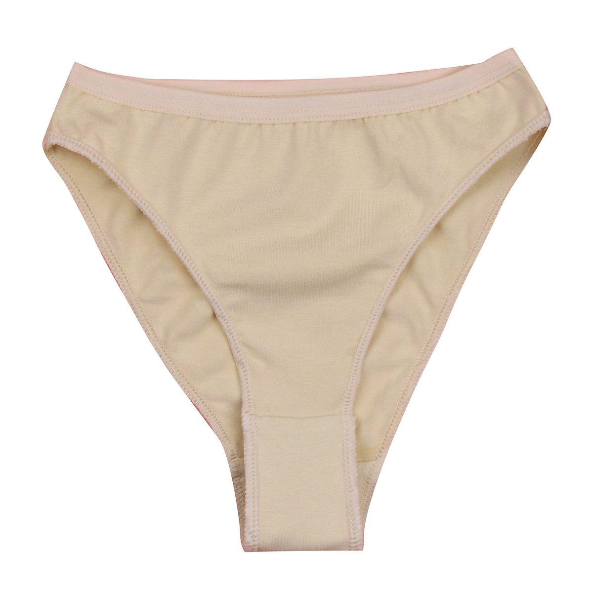 dPois Kids Girls' High Cut Gymnastics Workout Briefs Shorts Underwear Athletic Underpants Nude 2-3