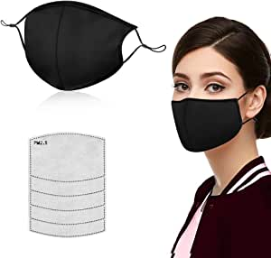Face Masks for Anti Pollution Dust,Washable and Reusable Cotton Face Mask, Adjustable Ear Loop Protective Mask with 5PCS PM2.5 Filter(Black)