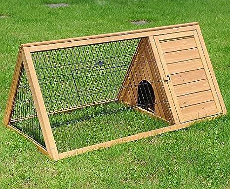 EUGAD Conejera de Exterior Madera Casa para Conejos Cobayas Hámster Mascotas Jaula para Conejo Animales Pequeños Impermeable 2 Puertas 128 * 60 * 51cm ...