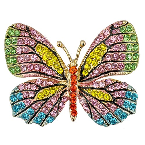 (Reizteko Winged Butterfly Crystal Rhinestones Brooch Pin (Green Pink Yellow))