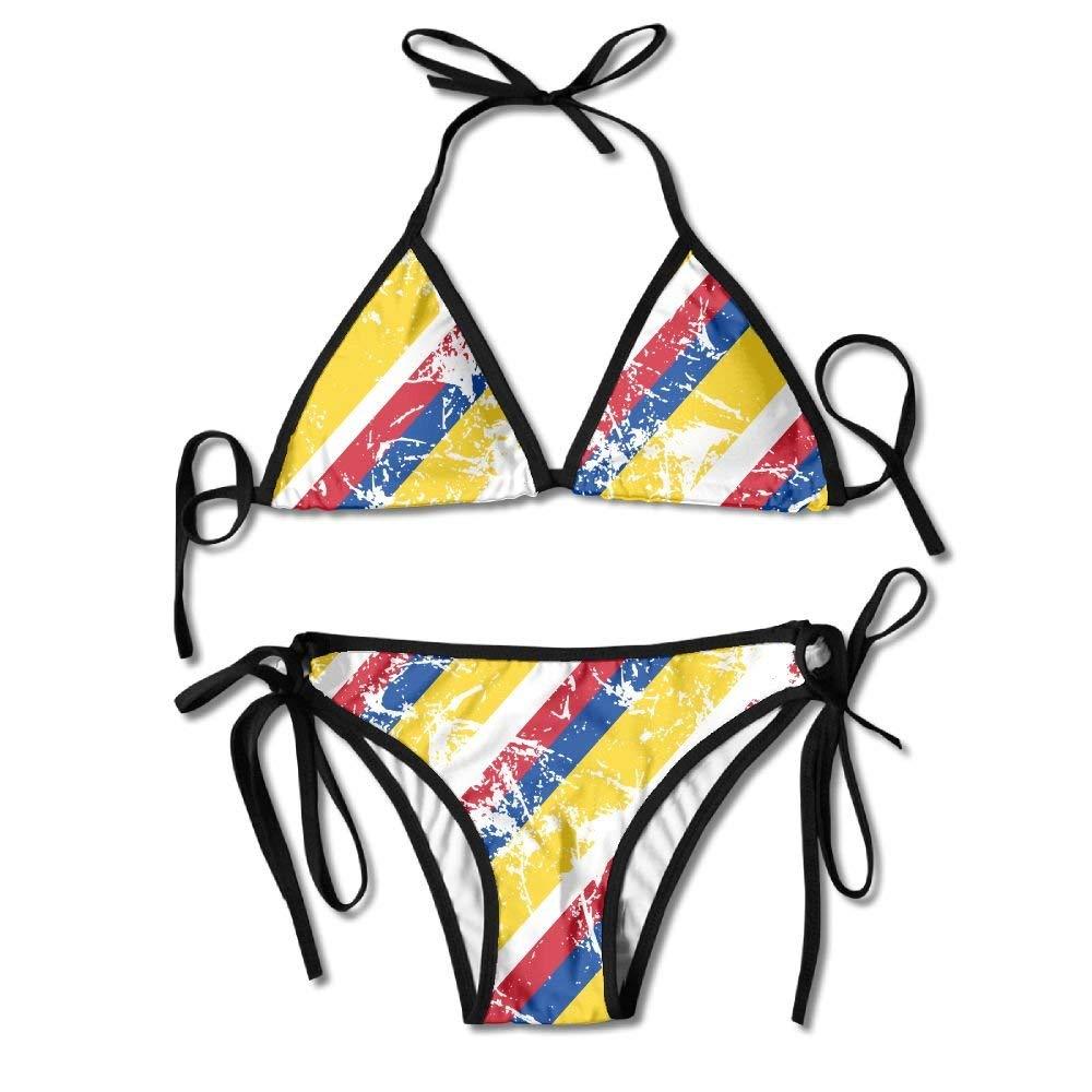 Pan-White Colombia Flag Womens Bikini Set Tie Side Bottom Tops ...